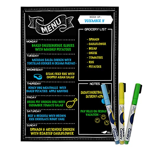 Magnetic Menu Board for Kitchen Fridge with Vibrant Neon Chalk Markers- 16x12' - Dry Erase Weekly Meal Planner and Grocery List Notepad for Refrigerator - Super Easy to Erase Black Chalkboard Calendar