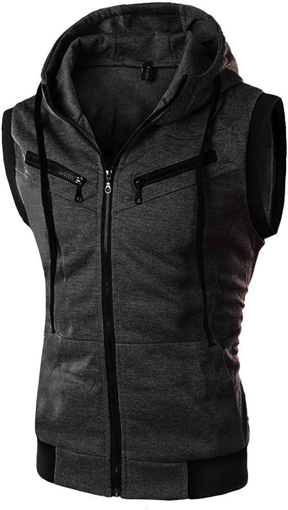 WUAI-Men Slim Fit Zip-up Hoodie Tank Tops Casual Lightweight Gym Bodybuilding Sleeveless Hooded Vest Blouse