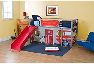 Dorel Boys' Fire Department Twin Loft Bed with Slide, Red