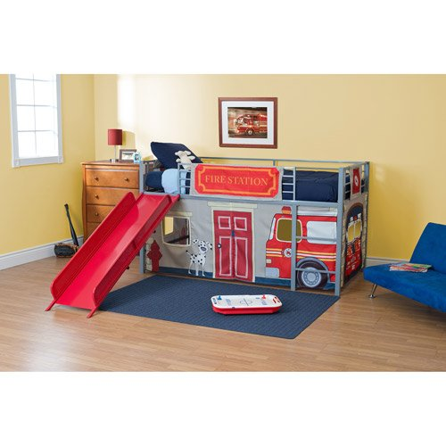 Boys' Fire Department Twin Loft Bed with Slide, Red