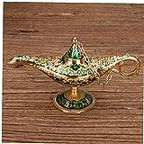 Adore store Golden Green Classic Vintage Aladdin Ligera aleación de Zinc Creativa Genie Vestuario Prop de la lámpara de Mesa Decoración Hogar