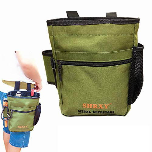 shrxy Metal Detecting Finds Bag Waist Digger Pouch Tools Bag for PinPointer Garrett Detector Xp ProPointer Accessories … (Green)
