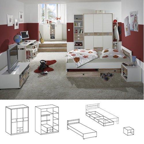 Wimex Babyzimmer Set Jalta, bestehend aus Schrank, Babybett und Wickelkommode, Liegefläche 70x140 cm, Weiß/ Absetzung Eiche Sägerau