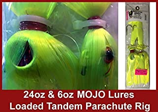 Blue Water Candy - Rock Fish Candy 24 oz & 6 oz Mojo Lures Loaded with 9-Inch Swimbait Shad Bodies Tandem Parachute Rigged & Ready
