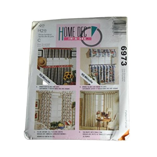 McCall's 6973 Sewing Pattern Home Dec in a Sec Window Curtains Size One