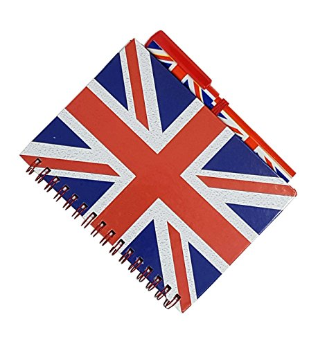 Union Jack Notitieboek en bijpassende pen - Medium A6 Grootte/Londen Souvenir Wirebound Notitieboek/Britse vlag Ontwerp Print/Distressed/UK Kladblok