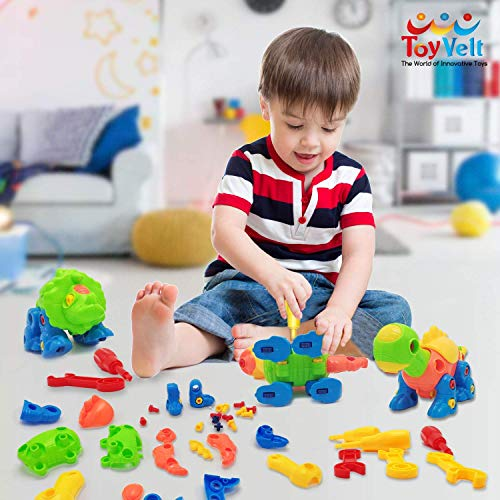 Dinosaur Toys Take Apart Toys With Tools (218 pieces) - Pack of 6 Dinosaurs With 12 Tools - Construction Engineering STEM Learning Toy Building Play Set - Toy for Boys & Girls Age 3 - 12 years old