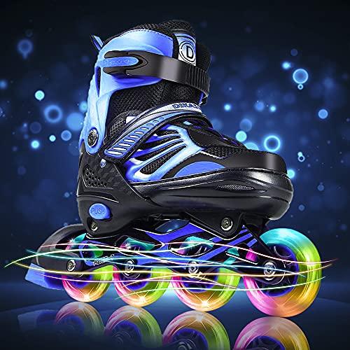 Inline Roller Skates Blades for Adults Men Light Up Wheels, Size Adjustable Outdoor Roller Skates