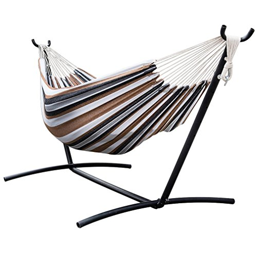 Space Saving Steel Hammock Stand With Desert Stripe Double Hammock Include Portable Carrying Case