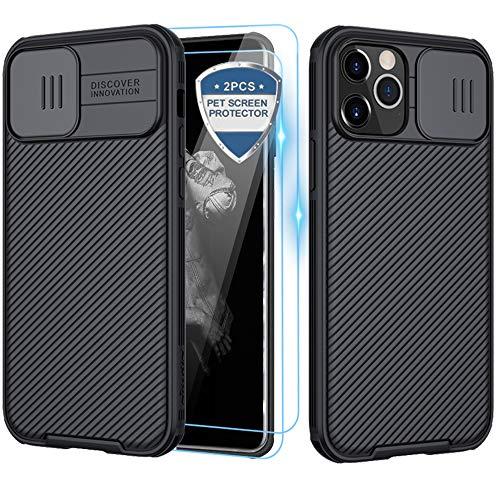 XCYYOO Funda para iPhone 12/12 Pro(6.1),[Protección de la cámara] [2 Pack Protector Pantalla ] Deslizante Cámara Proteger Ultra-Delgado PC Prueba Polvo Antideslizante Anti-arañazos Estuche