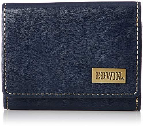 [エドウィン] 三つ折り財布 ホワイトステッチ 合皮 紙幣収納 小銭収納 カードポケット ネイビー