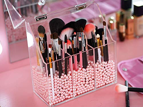 Newslly Clear Acrylic Makeup Organizer with 3 Brush Holder Compartment and Dustproof Lid, Cosmetic Brush Storage Box with Pink Pearls, for Bathroom Bedroom Vanity Countertop.