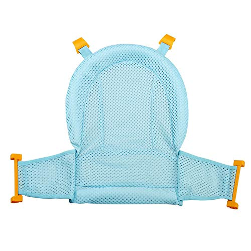 Gosear Vasca da Bagno di Sicurezza a Forma di T Regolabile Antiscivolo a 4 Fibbie Supporto per Vasca Amaca a Rete per 0-12 Mesi Bambini Appena Nati Blu