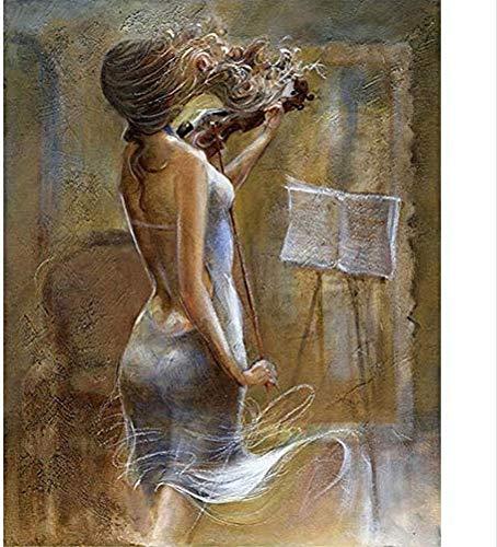 zhangsh Ölgemäldefarbe durch Zahl ati CraftsGirls Spielen Violine nach Anzahl Kits Liebhaber, Kinder und Mütter-40x50cm-No Frame