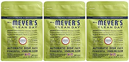 Mrs. Meyer's Clean Day Automatic Dish Pacs, Lemon Verbena Dishwasher Pods, 20 pods (Pack of 3)