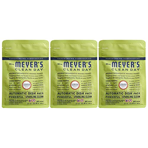 Mrs. Meyers Clean Day Automatic Dish Pacs, Lemon Verbena Dishwasher Pods, 20 pods (Pack of 3)