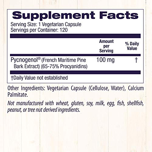 [海外直送品]HealthyOrigins【超得サイズ】ピクノジェノール100mg120粒(フランス海岸松樹皮エキス)