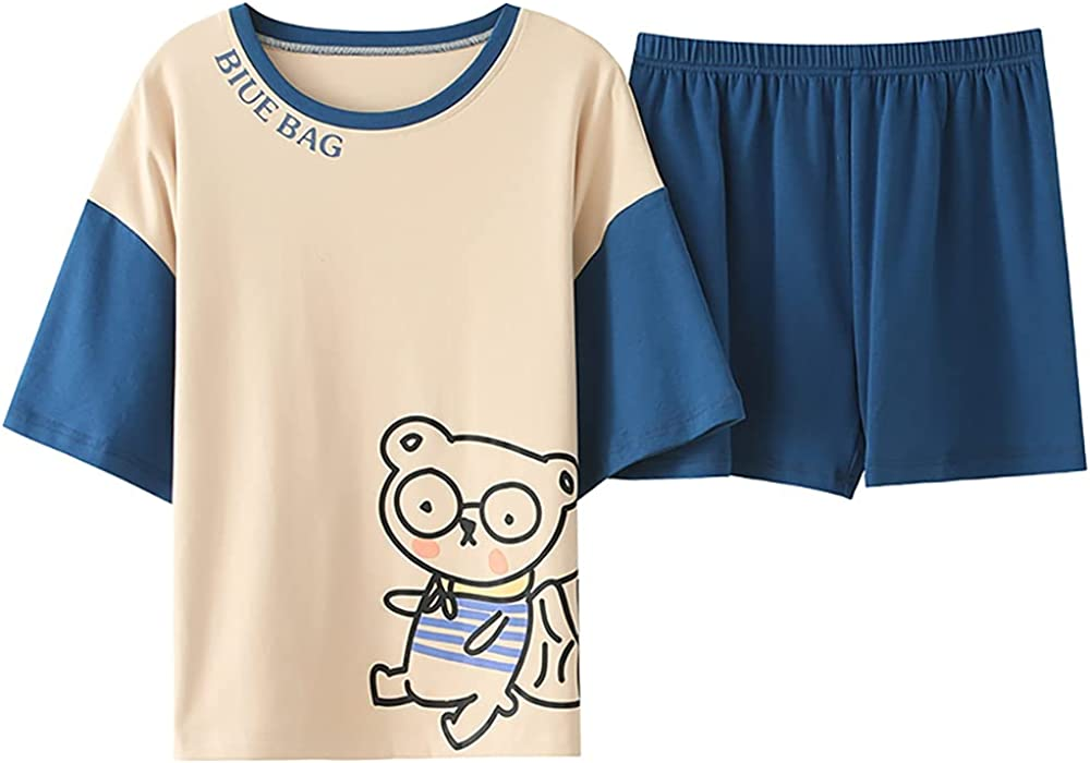 KINYBABY Girls Pajama Sets Cute Bear Pattern Sleepwear Summer Short Sleeve Shirt and Shorts Nightwear PJS (CKE-M1112,14-16 Years/Tag XL)