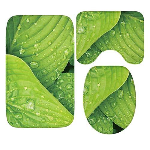 ianqujiangxinqujianjunbaih Alfombra de baño Alfombra Verde de la Hoja Absorbente Alfombra de baño WC Cubiertas del Asiento Mat Set de Accesorios (Color : As photo6, Specification : 40x60cm)