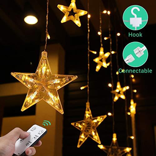 Quntis 108 LEDs 2,2m 12 Sterne Lichtervorhang mit Haken Timer Dimmbar Fernbedienung, 8 Modi Lichterkette Warmweiß mit Stecker Innen Außen, Deko Beleuchtung für Weihnachten Party Fenster Wand Balkon