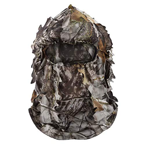 Tongcamo Hunting Ghillie Face Mask 3D Bionic Leafy Camouflage Headwear for Jungle Hunting, Wildlife Photography & Other Outdoor Activities