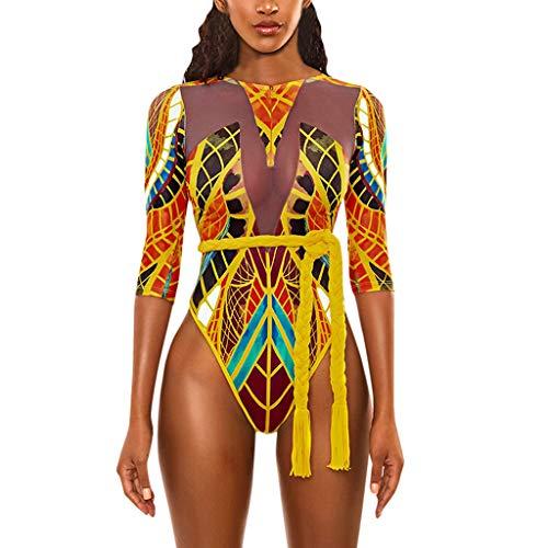 costume mare uomo inter Sasstaids Costume da Bagno Donna Intero Totem Africano Beachwear Spiaggia Mare Vita Alta Bikini Push-Up Mezza Manica Bikini Coordinati Donna Sexy Hot