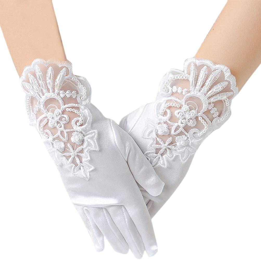 LeJulyeekay Flower Girl Gloves Lace Bead Short White Princess Gloves for Wedding