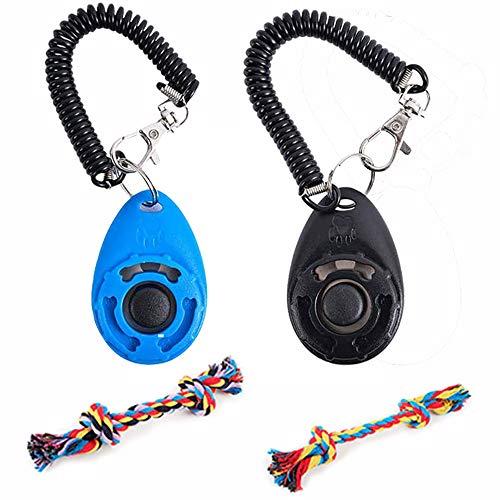 munloo Clicker Perro Adiestramiento de 2 Piezas con Correa para la Muñeca, Cuerda de Algodón Colorida de 2 Piezas, Ligera y Fácil de Usar para Entrenar Cachorros (Azul Negro)