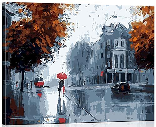WISKALON Dipinto con i Numeri su Tela per Adulti Dipingere con i Numeri Kit Decorazione Murale - Bacio sotto la pioggia 16 * 20 Pollici con Cornice in Legno