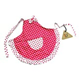 IDS Home Cute Princess Red White Dot Bow Frill Adjustable Kid Cotton Apron Kitchen Cooking Baking