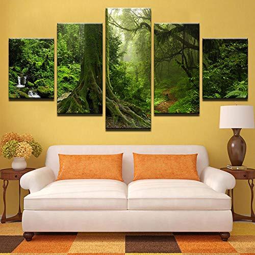 Hllhpc Modern canvas frame, decoratie voor thuis, muurkunst, posters, 5 panelen, hout, bos, landscape, woonkamer, HD-schildering, modulaire afbeeldingen