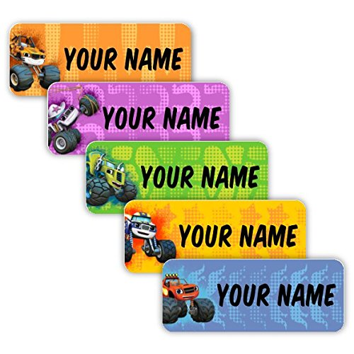 Blaze and The Monster Machines Theme Original Personalized Peel and Stick Waterproof Custom Name Tag Labels for Adults, Kids, Toddlers, and Babies – Use for Office, School, or Daycare