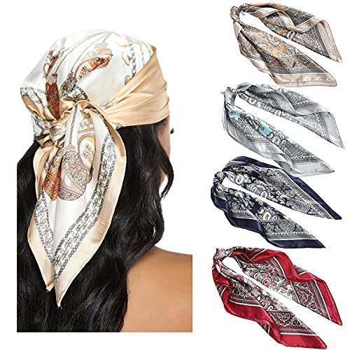 WELROG Seidentuch Damen Bandana Halstuch Damen - 4 PCs Kopftuch Vierecktuch Seide Mädchen (Set #6