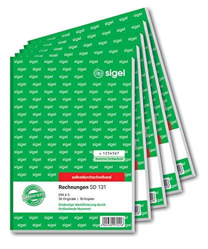 Sigel SD131 Rechnung fortlaufend nummeriert, A5, 2x50Blatt, selbstdurchschreibend, 5er Pack