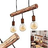 Lampada a sospensione Gondo a 3 luci, in legno/metallo color ruggine, 3 lampadine E27 (non incluse) max. 40 Watt, adatta per lampadine a LED. L´altezza puó essere regolata.