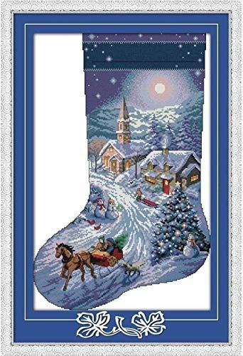 Punto de cruz Kit bordado principiantes-Calcetines de navidad-DIY Cross Stitch needlework Regalos-Punto de cruz Kit-Navidad decoración hogareña (11CT Lienzo preimpreso)