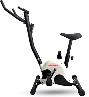 Sparnod Fitness SUB-50 Upright Exercise Bike for home gym - LCD Display, Height Adjustable Seat, Compact design - Perfect ...