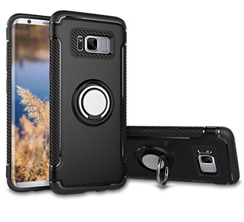 Slynmax Hülle Kompatibel mit Samsung Galaxy S8,Slynmax Ring Telefon Panzer Outdoor Dual Armor Case es Schutzhülle Shockproof Hülle Kohlefaser Handyhülle Slim Hard Kratzfeste Samsung Galaxy S8,schwarz