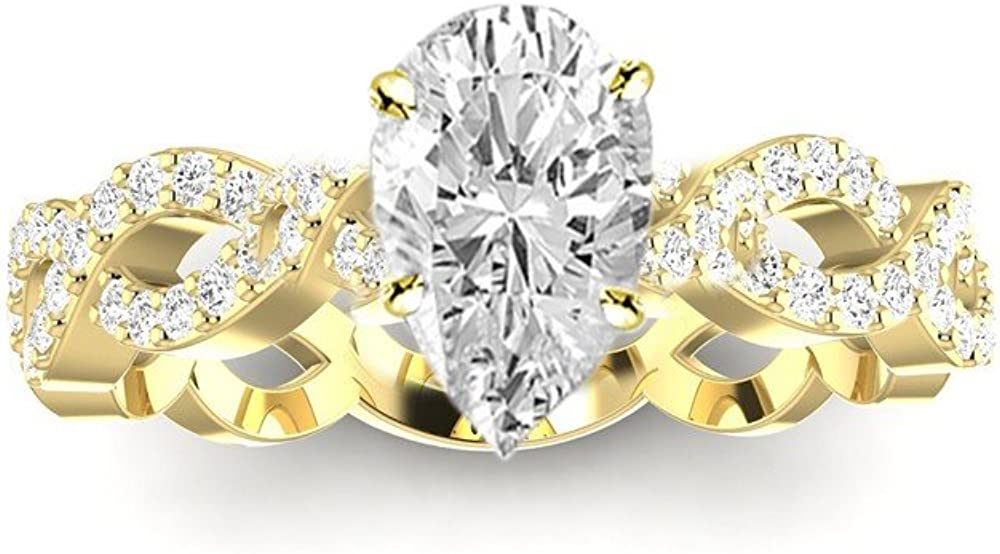 Free shipping on posting reviews 0.75 Ctw 14K White Gold Eternity Twisting Shank Love Split Pear Large special price
