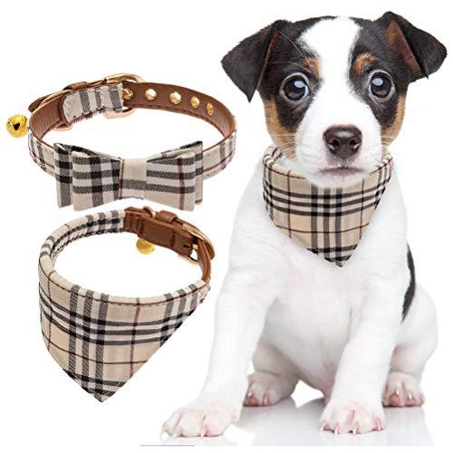 BINGPET 2 Stücke verstellbare Bowtie kleine Hundehalsband und Karierten Bandana Kragen mit Glocke Leder für Welpen Hunde Katzen