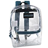 Clear Backpack With Reinforced Straps & Front Accessory Pocket - Perfect for Security & Sporting Events (Spruce Blue)