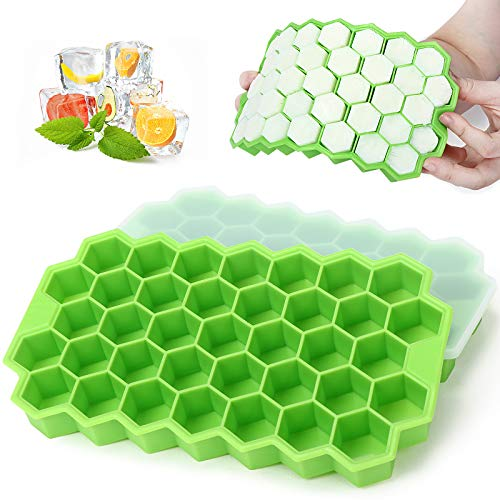Ice Cube Trays - MOMSIV 2 Pack Silicone Ice Cube Molds with Lid - Reusable and BPA Free, 74 Ice Cubes for Whiskey, Cocktail, Stackable Flexible Safe Ice Cube Trays