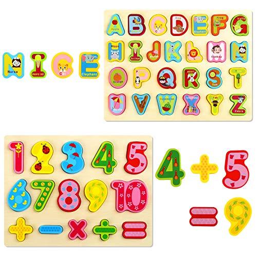 GWHOLE Pack de 2 Tableros Letra y Número Puzzle de Madera Juguete de Aprendizaje Juegos para Niño, Juguete Educativos Infantiles Rompecabezas con Lindos Dibujos