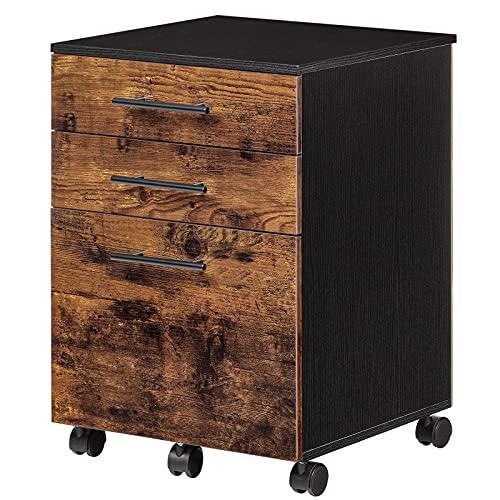 HOOBRO Mobile Office Cabinet, Mobile Pedestal, Rolling File Cabinet, Office Cabinet with 3 Drawers...
