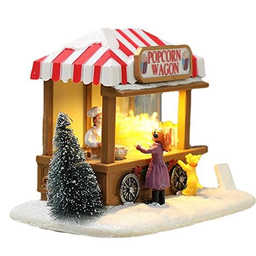 ADSVMEL Decorazioni Natalizie Decorazioni per la tavola di Natale Cottage innevato Illumina la casetta Popcorn Food Truck Decorazioni Natalizie Ornamento Decorazioni per la casa Decorazione in Resina