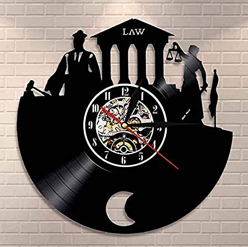 mbbvv Reloj de Vinilo Abogado Verdad Arte de Pared Bufete de Abogados Juez Corte Decoración Reloj de Pared Ley Mujer Escala Justicia Reloj de Pared