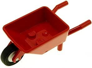 1 x Lego System Schubkarre rot abgerundet Rad weiss Hand Karre Garten 98288c01