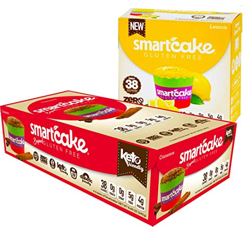 SMARTCAKE BUNDLE: 4x CINNAMON TWIN PACKS and 2x LEMON TWIN PACKS. GLUTEN FREE, SUGAR FREE, LOW CARB SNACK CAKES: TOTAL OF 6 TWIN PACKS