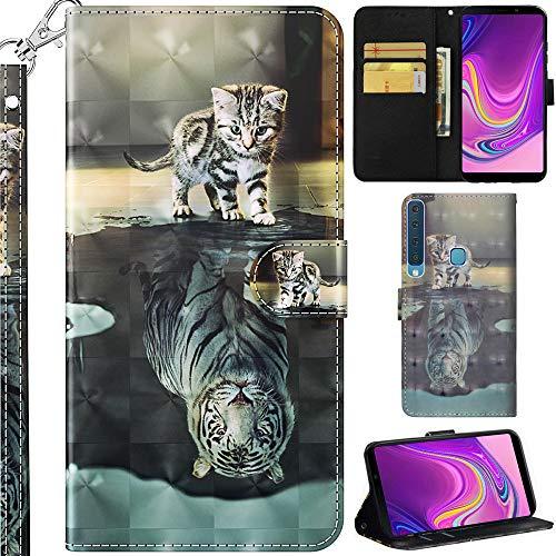 Ooboom Samsung Galaxy A9 2018 Hülle 3D Flip PU Leder Schutzhülle Handy Tasche Hülle Cover Ständer mit Kartenfach Integrierten Kartensteckplätzen Trageschlaufe für Samsung Galaxy A9 2018 - Katze Tiger