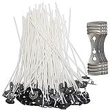 Senhai 200 mechas de vela con 5 piezas de dispositivo centrado, mecha de núcleo de algodón preencerado de 4.7 pulgadas con soporte de metal para hacer velas y hacer velas DIY